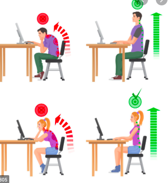 Illustration of a man and a woman sitting separately at a desk illustrating good and poor posture.