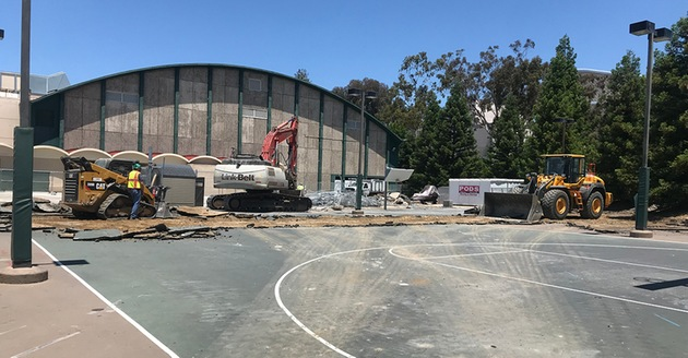 Photo of construction starting on the beach volleyball complex at Cal Poly, on the south side of Mott Athletics Center. Photo courtesy Cal Poly Athletics.