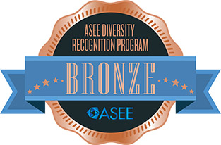 Illustration of a badge reading ASEE Diversity Recognition Program - BRONZE