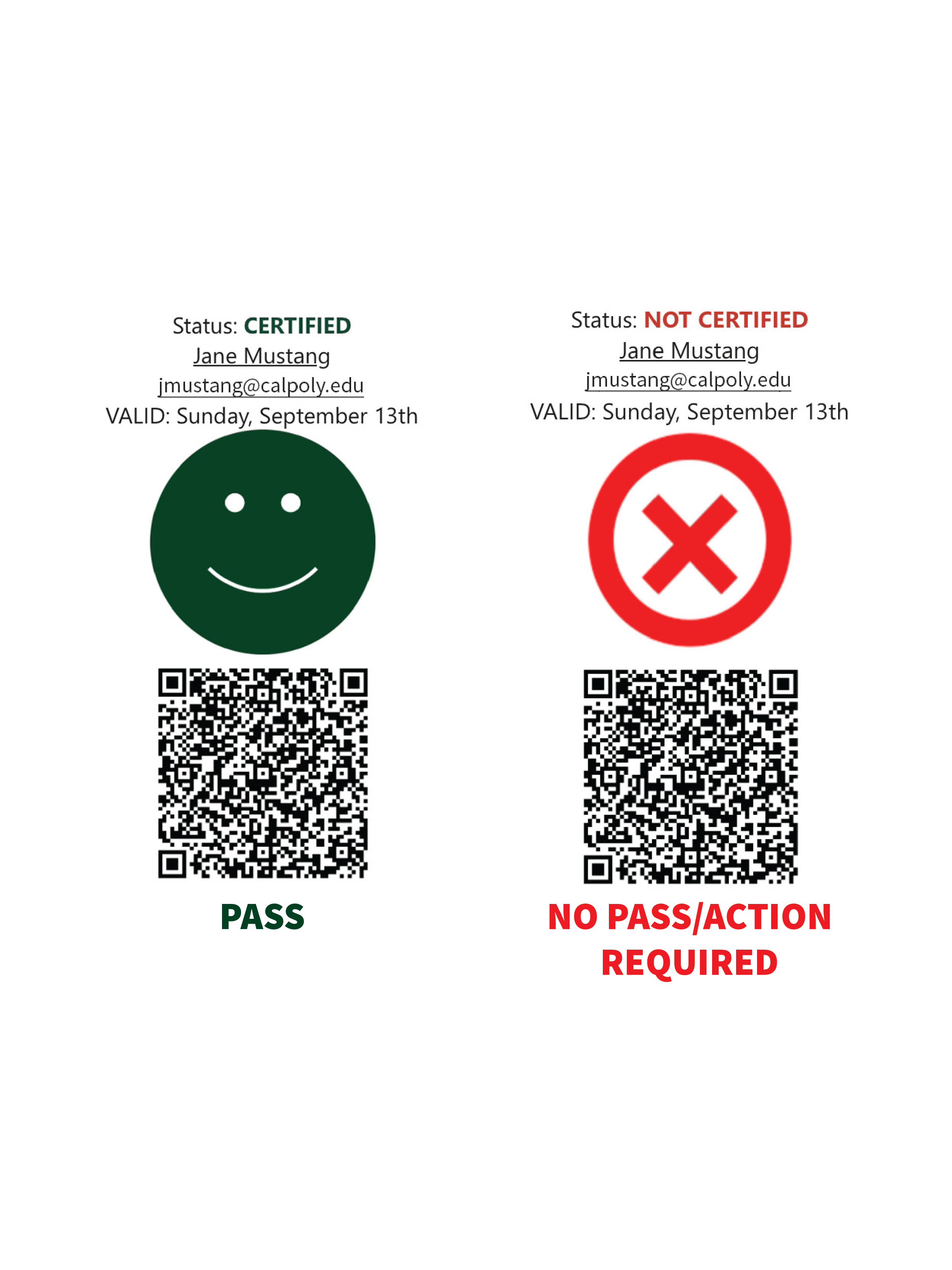 Screenshots showing the green happy face or red x if students do or do not pass the daily screening