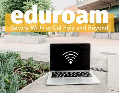 Photo of a laptop in the UU reading eduroam, Secure Wi-Fi at Cal Poly and Beyond