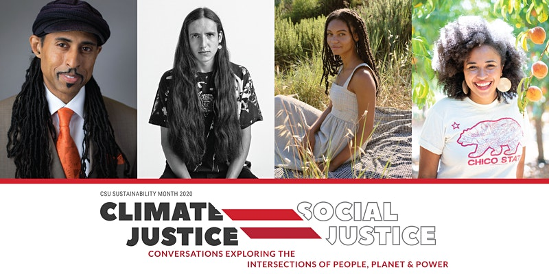 "Dr. Mustafa Santiago Ali, ""Green Girl"" Leah Thomas, Xiuhtezcatl (X) Martinez, and CSU Chico AS President Breanna ""Bre"" Holbert."