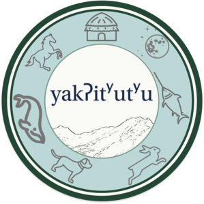 Text reading yakʔitʸutʸu with illustrations around it of a home, moon, swordfish, horse, whale, dog, rabbit and mountains.