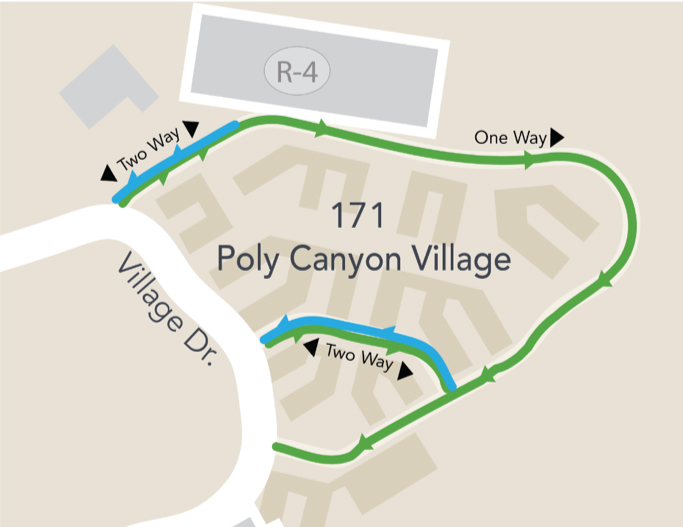 Map of Canyon Circle showing the new one-way route.
