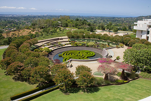 Photo of the exterior gardens of The Getty Center in Los Angeles.