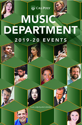 Image of the Cal Poly Music Departments 2019-20 event brochure, with photos of several of the musicians and performers.
