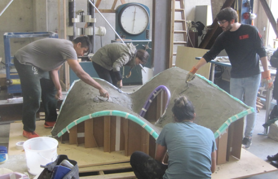 Students from the Architecture and Architectural Engineering departments work on an interdisciplinary senior project that required them to conceptually design and then build complex shell structures.