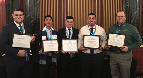 team members Austin Hochstetler, Sunghoon Chung, Sean Bybee, Antonio De Jesus Aguayo, and faculty advisor Steffen Peuker.