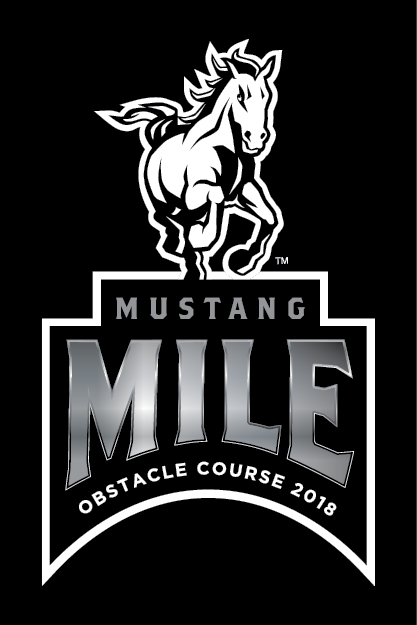 Graphic of a mustang with text reading Mustang Mile Obstacle Course 2018