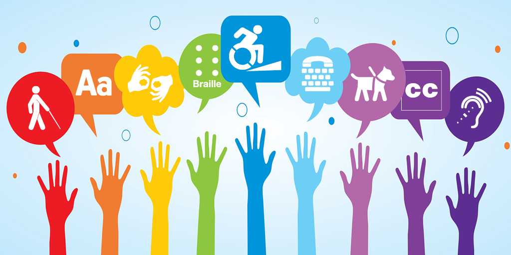 Illustration with hands raising toward different accessibility ideas such as closed captioning, a person in a wheelchair, Braille and others