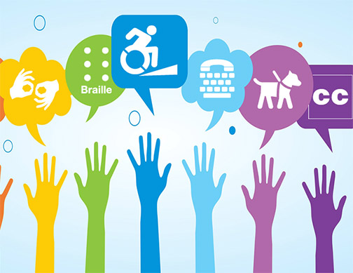 Graphic with accessibility icons including braille, sign language, a wheelchair and CC (closed captioning).