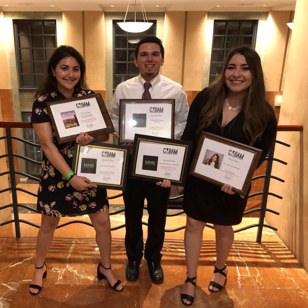 From left to right, Mustang Media Group Advertising Managers Kylie Goldfarb, BJ Drye and Bianka Pantoja were recognized for leading a top training program and sales strategy, taking third place for best college media sales program in the country.
