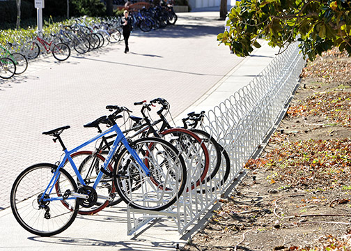 Bike racks now line both sides of North Poly View Drive, near the Mathematics and Science Building (No. 38).