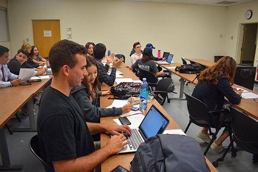 Photo of Cal Poly students working on a class project.