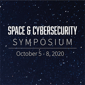 Illustration of space with text reading Space & Cybersecurity Symposium October 5-8, 2020