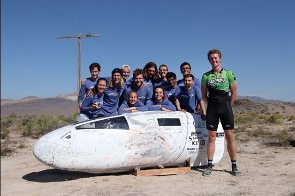 Cal Poly's human-powered vehicle team designed, built and ultimately rode their recumbent bicycle, Ambition, into the record book hitting 63.68 mph and eclipsing a 27-year-old record during the 20th annual World Human-Powered Speed Challenge in Battle Mountain, Nevada, held Sept. 8-13. The team hopes to return in 2020.