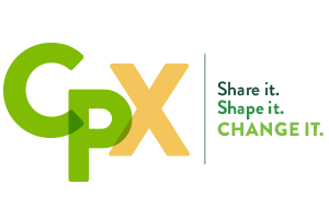 Logo for CPX - Cal Poly Experience. Share it. Shape it. Change it.
