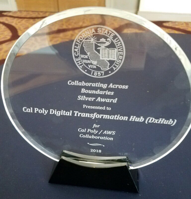 Photo of the award that Cal Poly/AWS received at CSU Technology Awards.