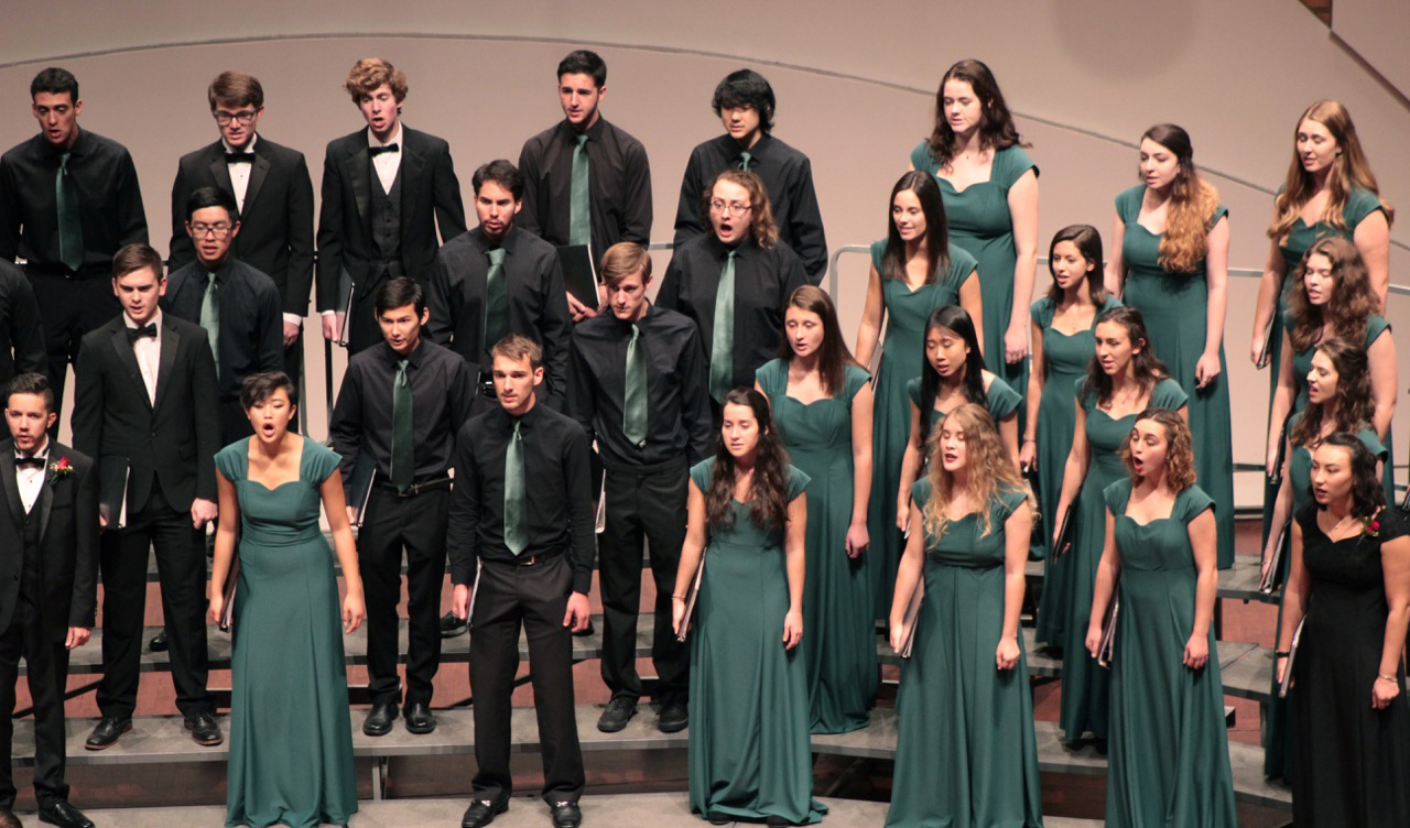 Photo of members of Cal Poly Choirs during a past performance.