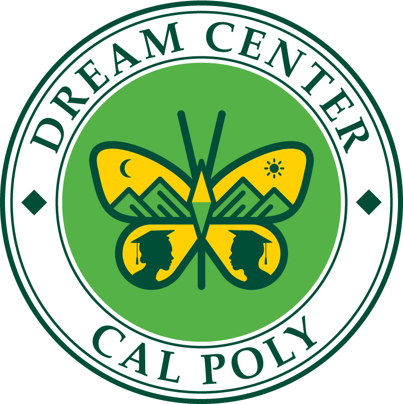 Logo for Cal Poly Dream Center with a butterfly in the middle of a green circle