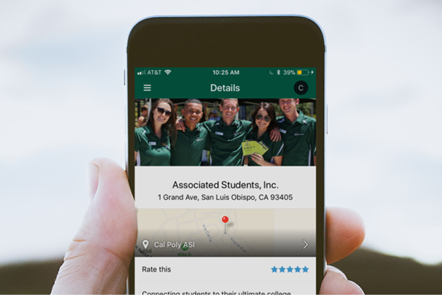 A photo of someone holding a phone with ASI on the Cal Poly Now app.