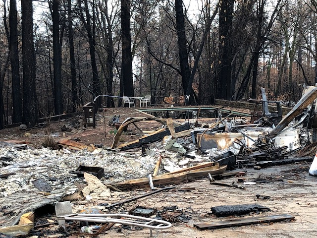 The backyard of a home devastated by the Camp Fire. The photo was taken during Cal Poly's recent trip to Butte County, which included a visit to the town of Paradise.