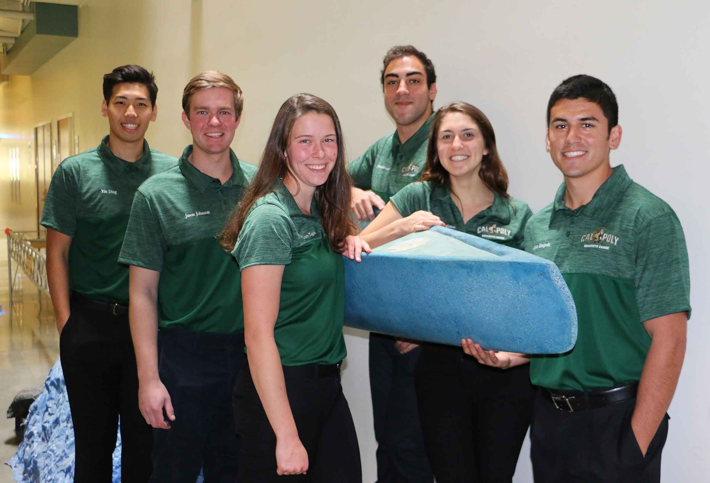 Members of this year's Cal Poly concrete canoe team includes, from left, civil engineering seniors Yin Ding, Jason Johnson, Lauren Tigue, Jonathan Mahmoud, Eleni Korogianos and Mason Breipohl, team project manager.