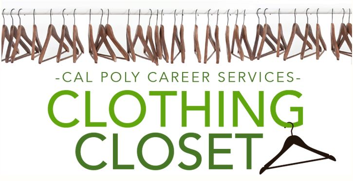 Cal Poly Career Services Clothing Closet logo showing a rack of empty hangers