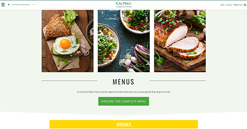 Screenshot of the University Catering website with photos of food.