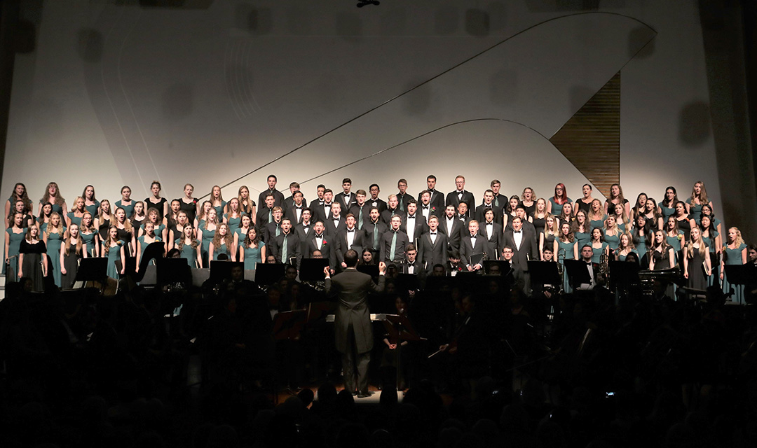 The combined Cal Poly Choirs perform during the 2018 Spring Concert on campus.