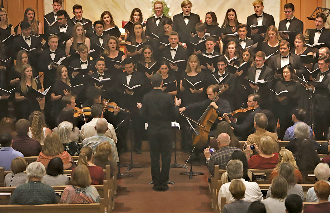 Members of Cal Poly Choirs perform in 2018 at Mission San Luis Obispo de Tolosa.
