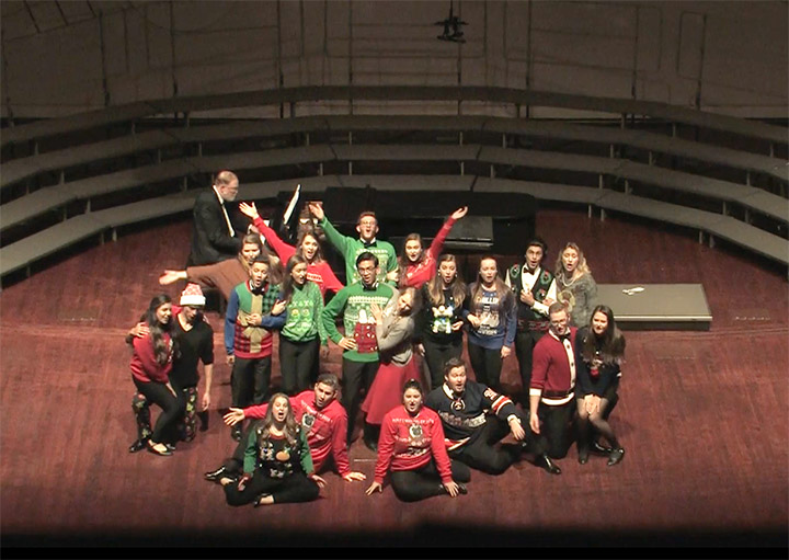 "The Cal Poly Choirs pictured during the 2017 ""Holiday Kaleidoscope"" concert."