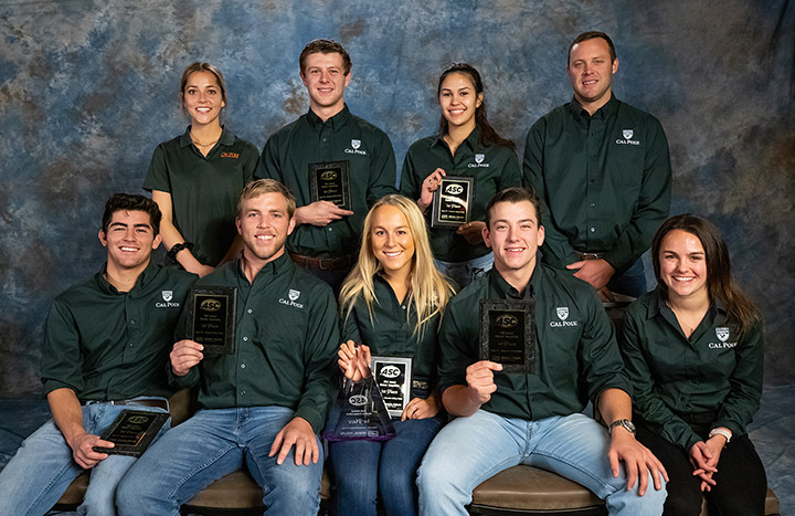 Cal Poly construction management first-place Commercial team members are (back row) Skylar Shrank, Tyler Morales, Shaina Suanico and Andrew Kline (coach). In the front row are Marco Reza (co-captain), Will Myers, Avery Spector (captain), Parker Doshier and Sophie Stewart.