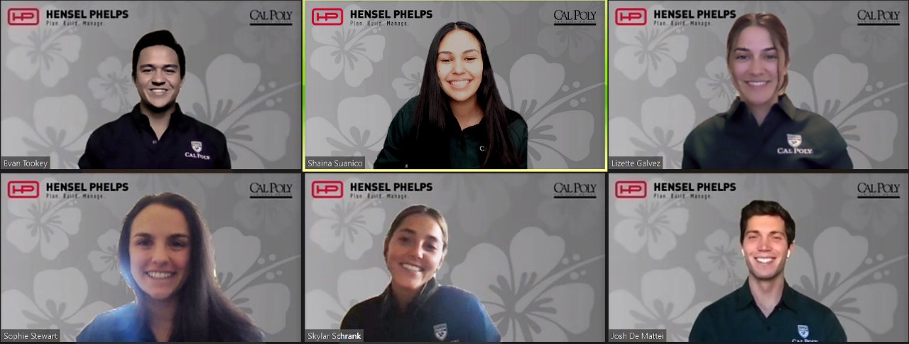 Cal Poly's winning Commercial Team members gettingtogether via Zoom after the ASC Competition that was virtual this year for the first time. The team members (to, from left) are Evan Tookey, Shaina Suanico and Lizette Galvez. On the bottom (from left) are Sophie Stewart, Skylar Schrank and Josh De Mattei.