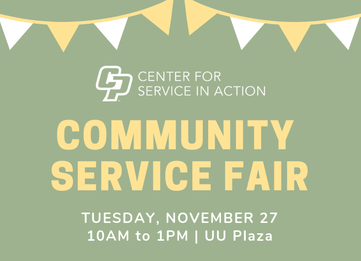 Graphic of invitation for Center for Service in Action Community Service Fair.