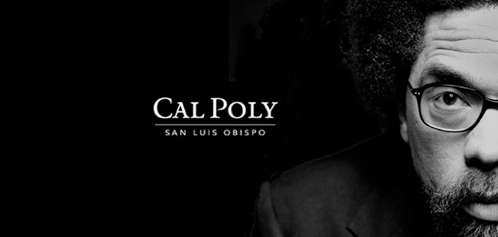 Black and white headshot of Cornel West; photo also includes Cal Poly wordmark