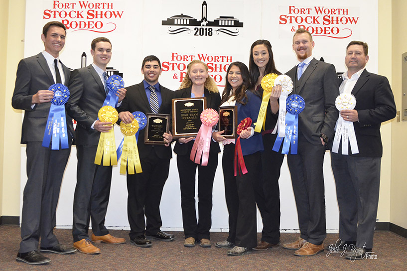 Pictured from left to right at the Fort Worth Stock Show are Hank DeVries, Nicolas Marsigli, Brandon Almeida, Hannah Neer, Caitlin Lopes, Alexandria Lopes, Jack Vander Dussen and coach Rich Silacci.