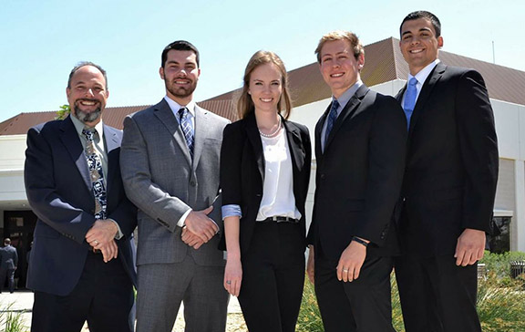 Assistant Professor David Vagnoni (coach), Anthony Echeverria, Amber LaSalle, Matt Ruby and Tony Lopes.