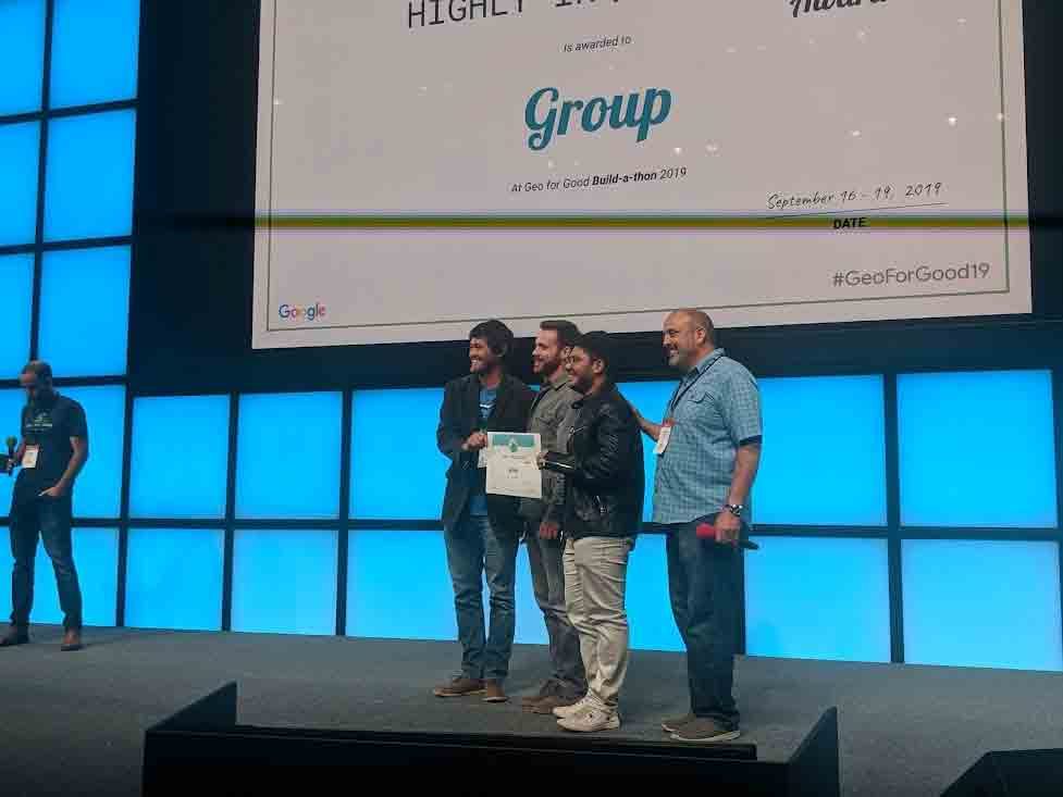 The Cal Poly group at Google Geo For Good conference in 2019, where DamageMap won the Highly Inquisitive group award in a build-a-thon competition.