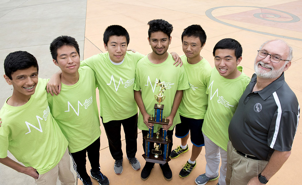 Pranuv Patil, Eric Chen, Andrew Wang, Akul Arora, Daniel Chen, Alex Guo and coach Paul Johnson.