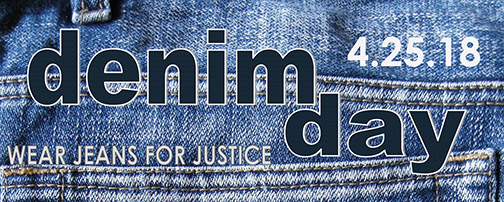 "Close-up photo of jeans reading ""demin day wear jeans for justice 4.25.18"""