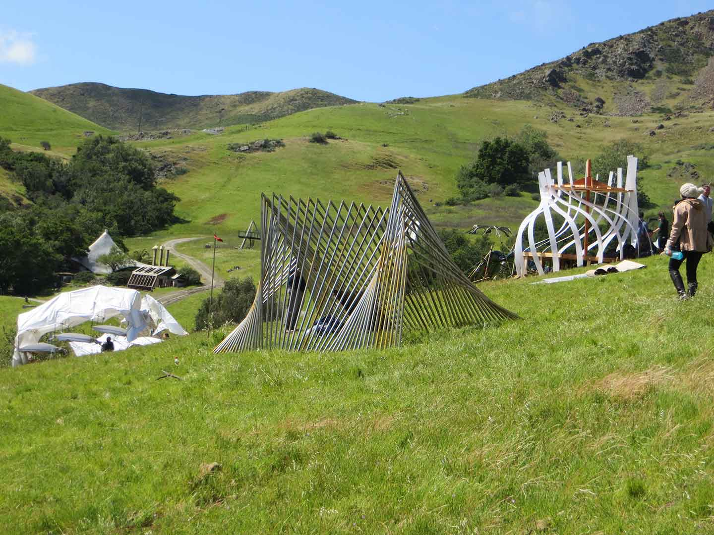 "Structures from a previous Design Village. College students from around the Golden State will travel to Cal Poly this weekend, April 26-28, to participate with Cal Poly students in the Design Village Competition. Students have designed structures to the theme ""Synthesis"" that they will build and inhabit in rural Poly Canyon, about a mile from the heart of campus."