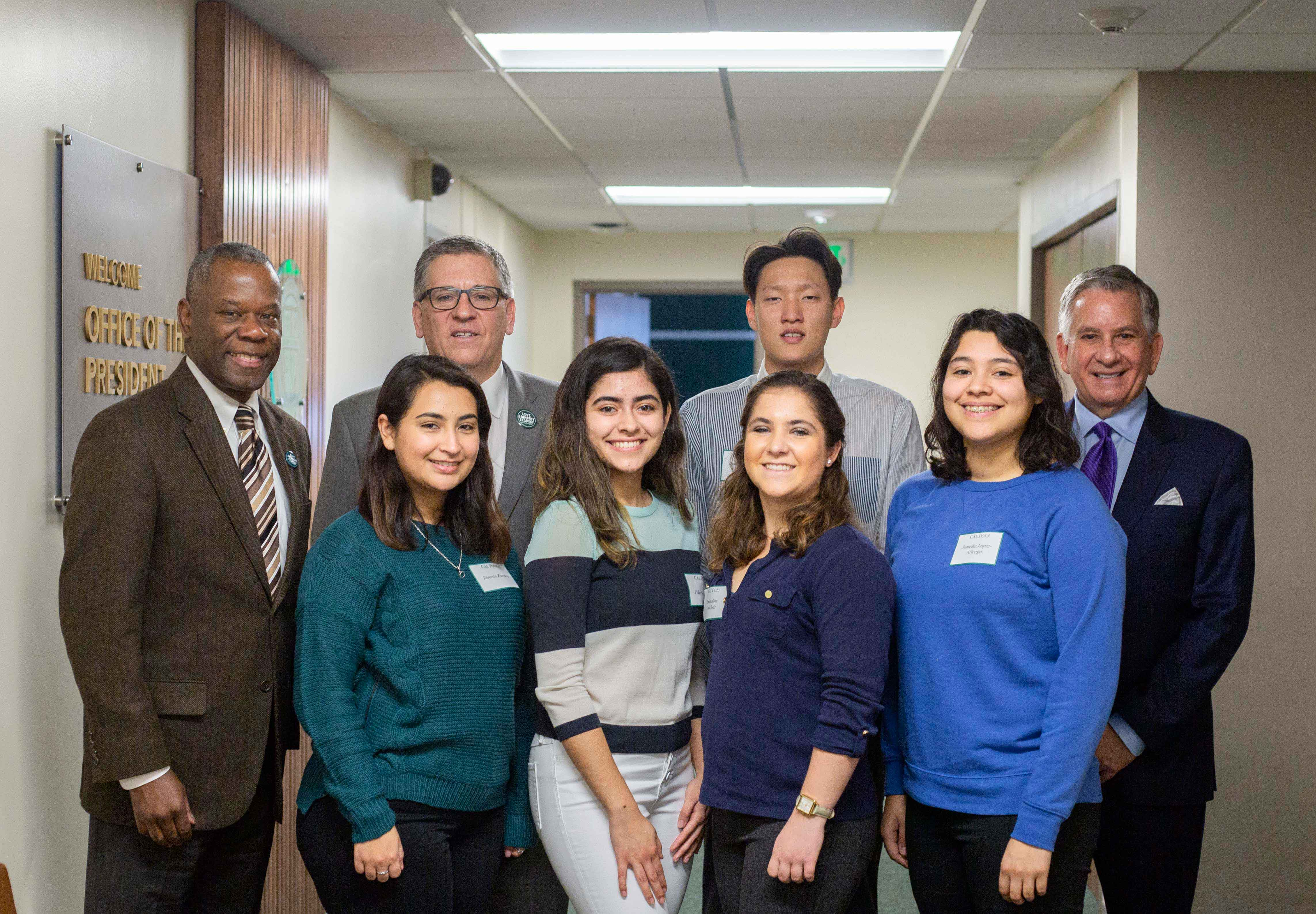 CommonSpirit Health Chief Human Resources Officer Darryl Robinson; Cal Poly President Jeffrey D. Armstrong; student Byungcheol So of Torrance; and Alan Iftinuik, CEO of Dignity Health's French Hospital Medical Center. Not shown are students Serena Cortez of Menifee; and Madelin Skinner of Santa Rosa.