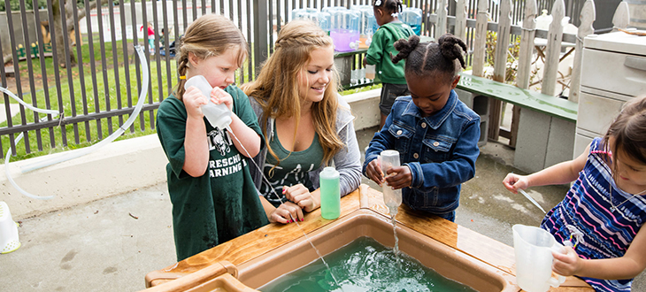 Photo of children playing with water at the Cal Poly Learning Lab