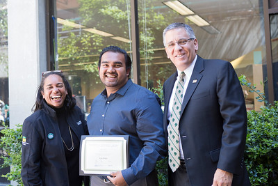 Denise Isom, left, is pictured with Justin Gomez, recipient of the 2017 Diversity Award for staff, and President Armstrong.