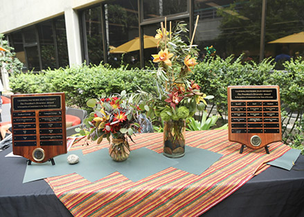 Photo of plaques with names of previous diversity award winners.