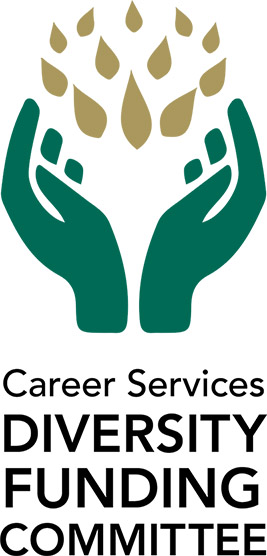 Illustration of two hands with text reading Career Services Diversity Funding Committee
