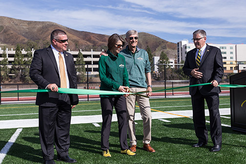Don Oberhelman, Kit Doerr, Dick Doerr and Jeff Armstrong cut the ribbon, opening Doerr Family Field.