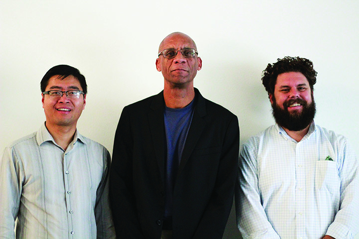 The new 2018-19 CIE Faculty Fellows, from left to right, are Bo Liu, Michael Whitt and Erik Sapper.