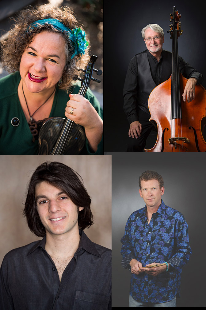 Brynn Albanese, applied violin and viola instructor for the Music Department, top left, will perform with faculty members Ken Hustad (bass), top right, and John Astaire (percussion), bottom right. She will also perform with guest guitarist Jack Cimo, bottom left.